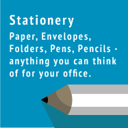 Stationery - Paper, envelopes, folders, pens, pencils - anything you can think of for your office.